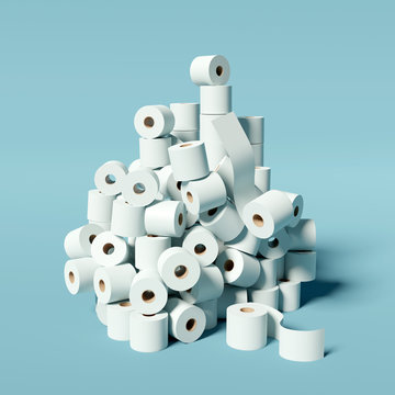 A huge stockpile of toilet rolls. Coronavirus Covid-19 virus infection causing panic buying of loo roll. 3D illustration concept.