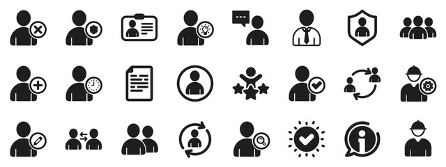 Profile, Group of people and Support signs. Users icons. ID card, Teamwork people and Businessman user symbols. Person talk, Engineer profile and Human Management. Job support. Vector
