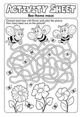 Photo sur Aluminium Enfants Activity sheet bee theme 1