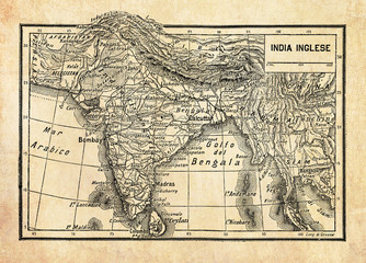 Ancient map of British Empire in India or British Raj on the Indian subcontinent, formed by  India, Pakistan, and Bangladesh with geographical Italian names and descriptions