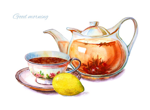 Colorful tea cups and saucers closeup. Sketch handmade. Postcard for tea party invitation. Watercolor illustration.