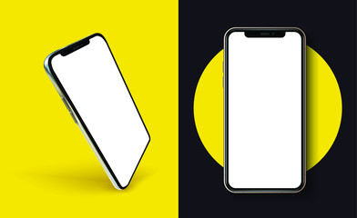 New iPhone 11 All by Apple Inc. Banner, screen phone. Smartphone mockup for infographics or presentation UI/UX design interface. Realistic vector illustration
