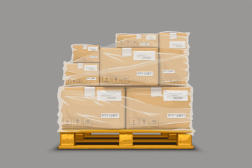 boxes stretch fim on pallet