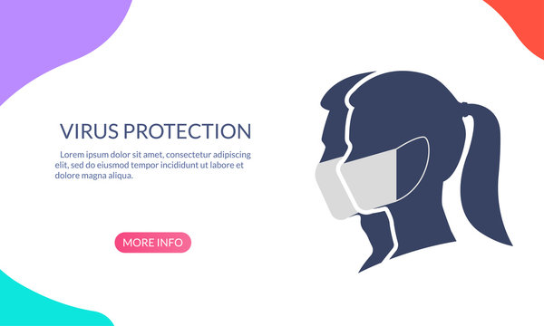 Virus protection banner with Man and Woman profile face silhouette in medical mask. Coronavirus prevention concept. Vector illustration.