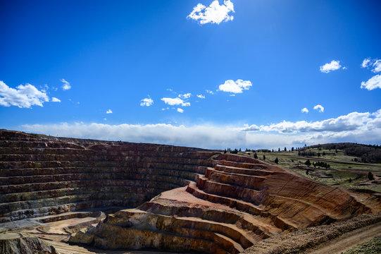 Victor Cresson Mine, an active open pit gold mine in Cripple Creek, Colorado, USA