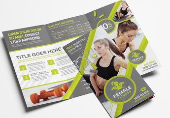 Green Gym Fitness Trifold Brochure Layout