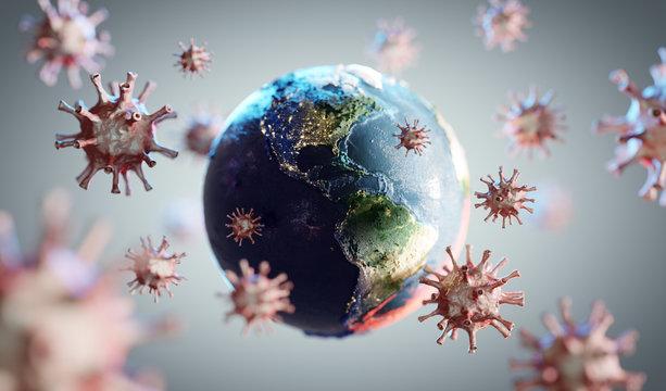 Coronavirus COVID-19 attacking world, earth. News about corona virus