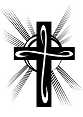 stylized cross in black on a white background, vector illustration,