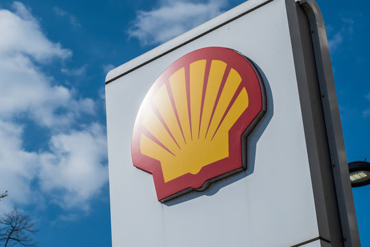 LONDON- APRIL, 2019: Shell logo at filling station, aka Royal Dutch Shell- a British / Dutch oil and gas company.