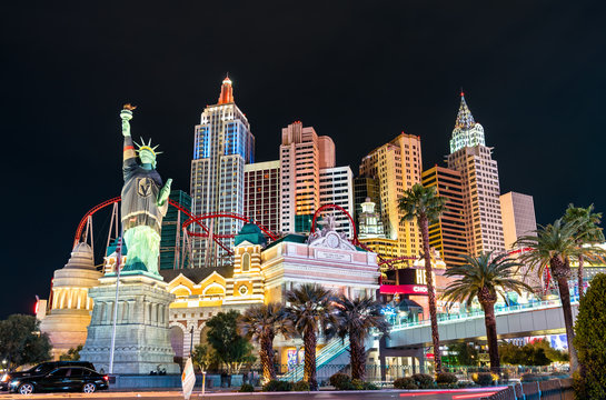 Las Vegas, United States - March 19, 2019: New York-New York Complex with a replica of the Statue of Liberty