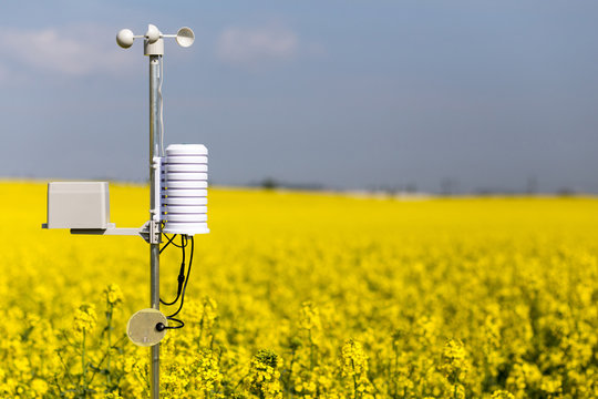 Smart agriculture and smart farm technology concept. Weatherstation