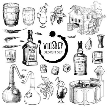 Whiskey related design elements set. Useful for bar pub or distillery branding and decoration. Hand drawn sketch style objects isolated on white background. EPS10 vector illustration