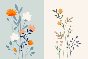 Set of floral background. Vector illustration for graphic and web design, marketing material, social media, presentation template, seasonal greeting cards.