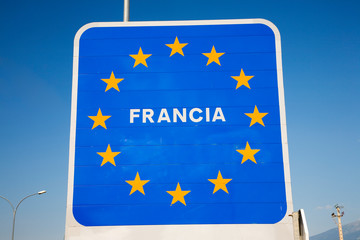 Wall Mural - Welcome Sign at border of Spain and France welcoming you to France, a member of the European Union