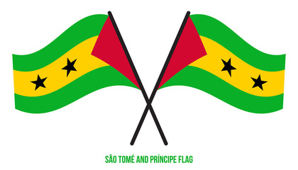 Sao Tome and Principe Flag Waving Vector Illustration on White Background. National Flag
