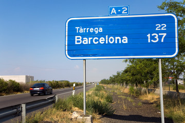 Wall Mural - Highway sign for A-2 with 137 Kilometers to Barcelona, Spain