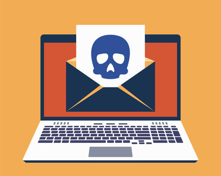 Laptop, E-Mail on Its Screen and Paper Leaf With Icon of Skull on It. Computer Virus Infected Mail Concept. Vector Illustration in Flat Design Style