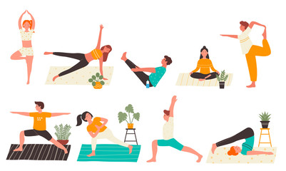 Young people in yoga poses set flat vector illustration isolated on white background. Yogi Man and woman training at home doing main yoga exercises. Personal trainer, workout class, healthy lifestyle. Papier Peint