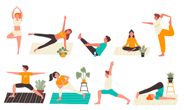 Young people in yoga poses set flat vector illustration isolated on white background. Yogi Man and woman training at home doing main yoga exercises. Personal trainer, workout class, healthy lifestyle.