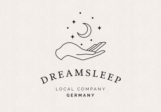 Logo Layout with Hand, Moon, and Stars