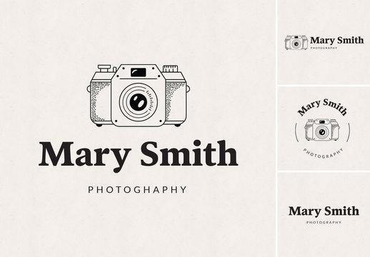 Logo Design Set with Camera Illustration