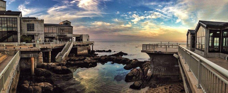 Exterior Of Monterey Bay Aquarium Overlooking Ocean At Sunset