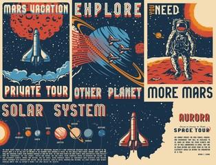 Vintage space posters set