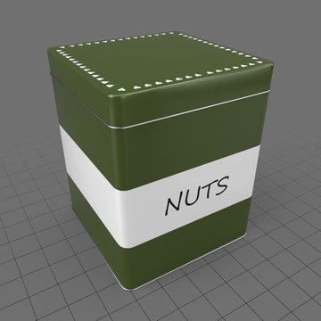 Nuts in metal box