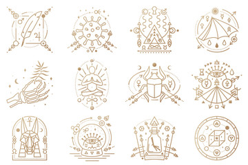 Esoteric symbols. Vector illustration. Outline icon for alchemy, sacred geometry. Mystic, magic design with man in yoga lotus pose, bat wing, chemistry flask, skull, gate, scarab beetle