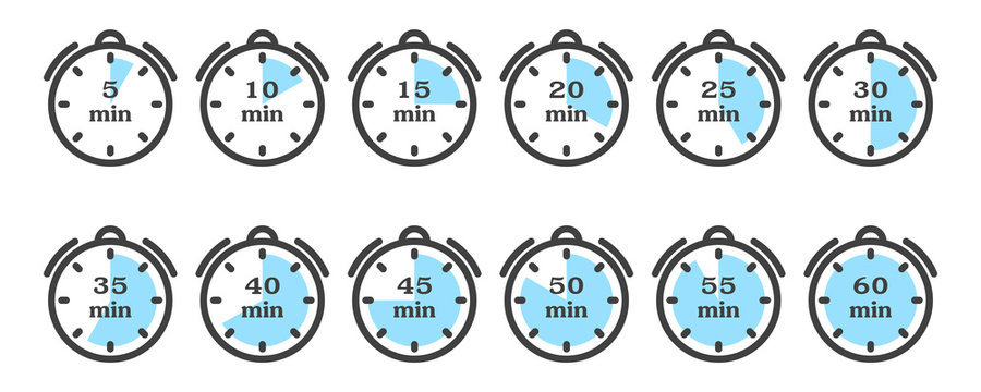 Timer and stopwatch icon set. A minimalistic image of a watch with different variants of minute indicators multiple of five. Isolated vector on a white background.