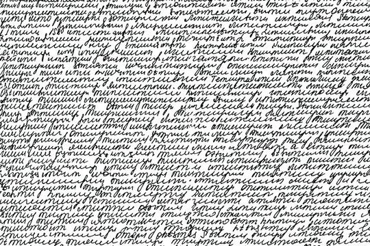 Handwritten letter. Handwriting. Calligraphy. Unreadable text. Manuscript. Script. Abstract texture background. Vector illustration. Overlay template.