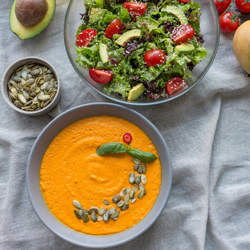 Roasted pumpkin and carrot soup and fresh salad