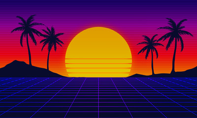 Landscape skyline with neon light grid, sun and palm trees. Sci-fi, futuristic illustration. Retrowave, synthwave or vaporwave 80's