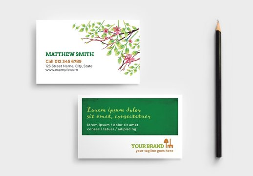 Gardener Business Card Layout with Foliage Illustrations