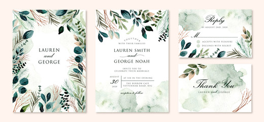 wedding invitation set with green foliage branches watercolor Fototapete