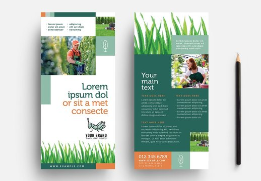 Thin Gardening Flyer Layout with Grass Illustrations