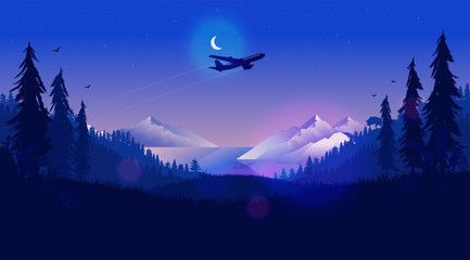 Fotorolgordijn Donkerblauw Plane in night sky - Airplane flying over a northern landscape at nighttime with half moon, mountains, ocean and forest. Traveling, vacation, going far away concept. Vector illustration.