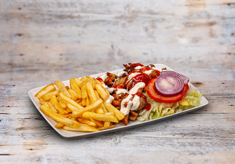 Gyros souvlaki and french fries