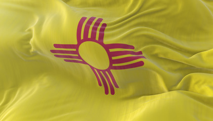 Flag of american state of New Mexico, region of the United States