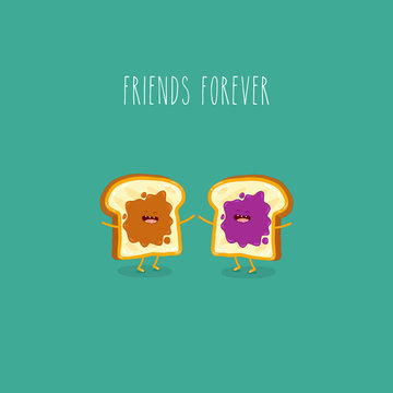 toasted bread with peanut butter and jam friends forever. Vector illustration.