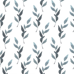 Hand drawn seamless pattern of leaves. Watercolor illustration of a plant ornament. Perfect for wrappers, wallpapers, postcards, greeting cards, design for paper, print textile and fabric.