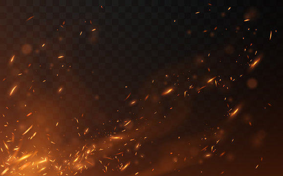 Flying fire sparks on transparent background