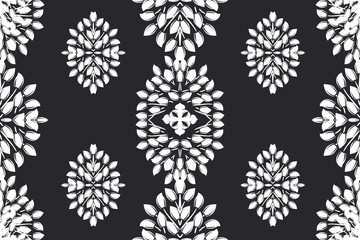 Flower damask ornate seamless pattern. Vector surface design for fabric, apparel textile, book, interior, wallpaper background