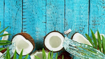 Wall Mural - Super Slow Motion Shot of Water Splashing on Coconut at 4K, top shot