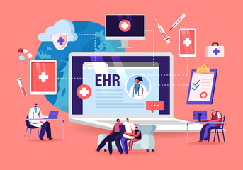 EHR, Electronic Health Record. Patient Character Insert Medical Data in Tablet. Doctor Use Digital Smart Device to Read Report Online. Modern Technology in Hospital. Cartoon Vector People Illustration Fototapete