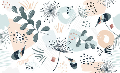 Seamless exotic pattern with tropical plants and gold elements. Vector hand draw