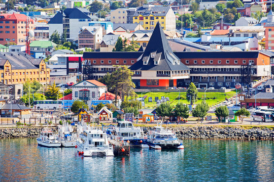 """Ushuaia, Argentina,  city view from the sea.  Ushuaia is the southernmost city in Argentina (and according to some sources — on the entire planet), it is often called the """"edge of the world"""