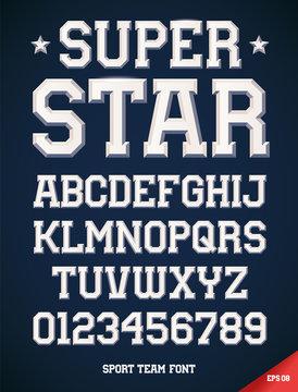 Classic style Sport Team slab serif font, metallic beveled alphabet and numbers. Upper case. Vector illustration.