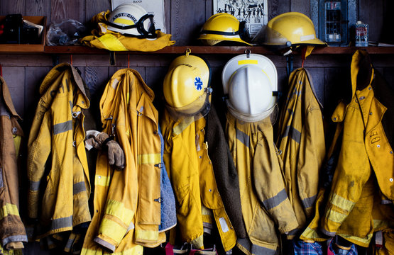 Firefighter Coats and Hard Hats
