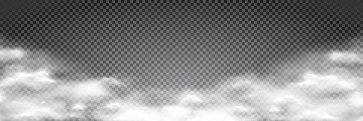 White fog texture isolated on transparent background. Steam special effect. Realistic vector fire smoke or mist Fototapete
